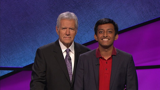 Siddharth Hariharan, a student from Herndon-- pictured with a host  Alex Trebek -- will compete on JEOPARDY! on Thursday, Sept. 15 on WJLA-TV.