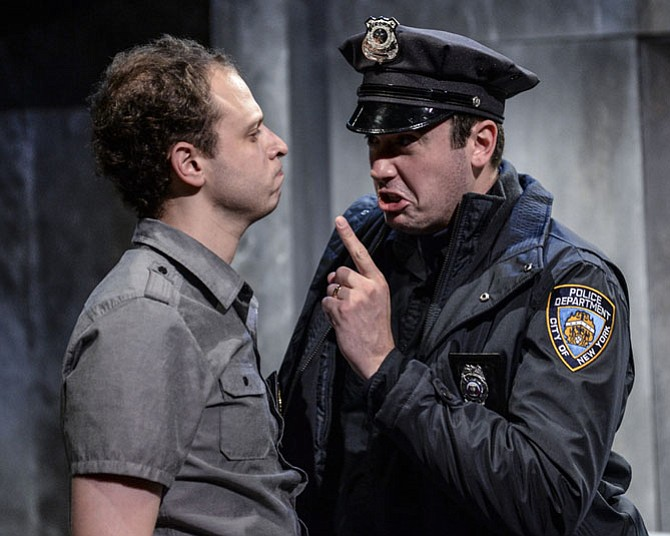 "From left -- Aaron Bliden and Matthew Sparacino in ""Lobby Hero"" at 1st Stage.."