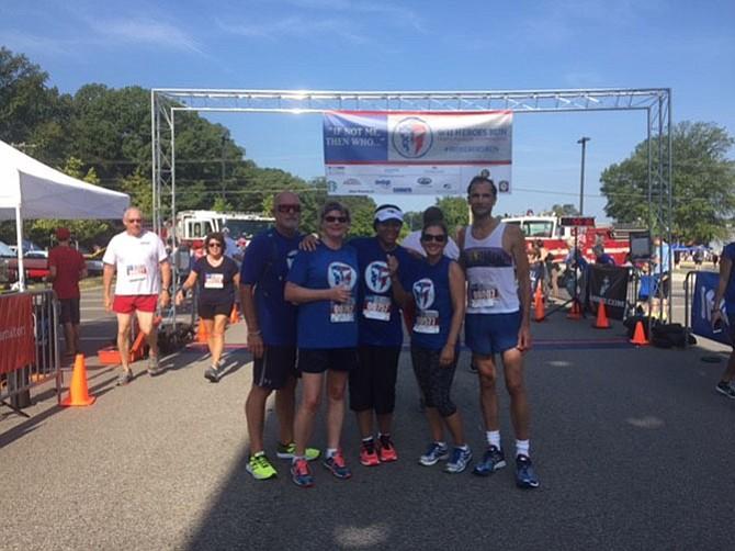 From left, Clarke Slaymaker, Donna Slaymaker, Shirley Short, Christine Morin and Supervisor Dan Storck (D-Mount Vernon) line up at the Sept. 10 Heroes Run.