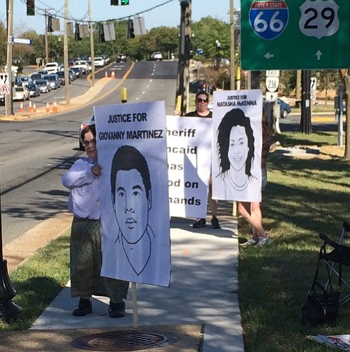 The Northern Virginia chapter of the group Showing Up for Racial Justice (SURJ) organized a demonstration at 4 p.m. on Sep. 14 along Lee Highway in Fairfax.
