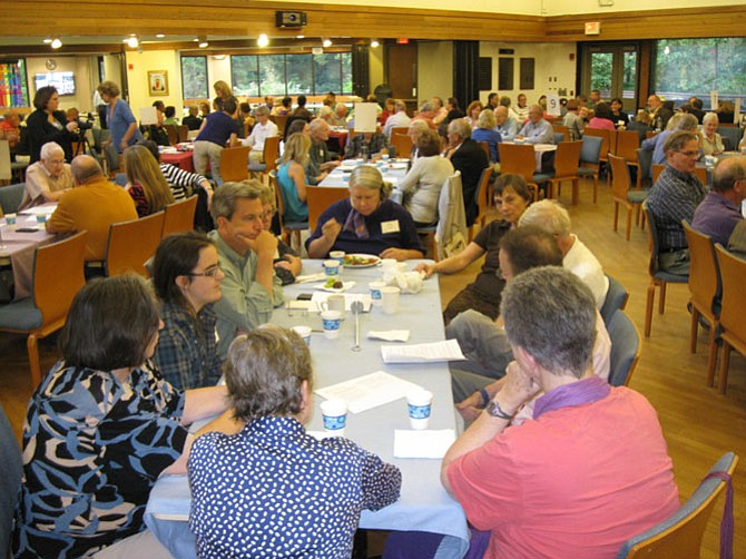 """About 150 people attended """"Finding Common Ground"""" -- A Reverse Town Hall to End Gun Violence on Saturday, Sept. 17 at the Unitarian Universalist Congregation of Fairfax in Oakton."""