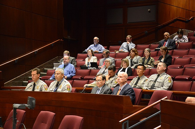 Recent data released by Chief Roessler (front row - right) shows that 40 percent of Fairfax County Police use of force incidents involved African Americans while only 8 percent of county residents are African American. Supervisor John Cook (R-Braddock) offered this as an example of broader policy issues that the auditor could study.