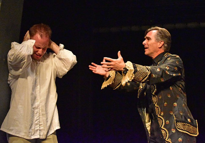 From left -- Mike Rudden (Mozart) and David Whitehead (Salieri) rehearse a scene from 'Amadeus.'