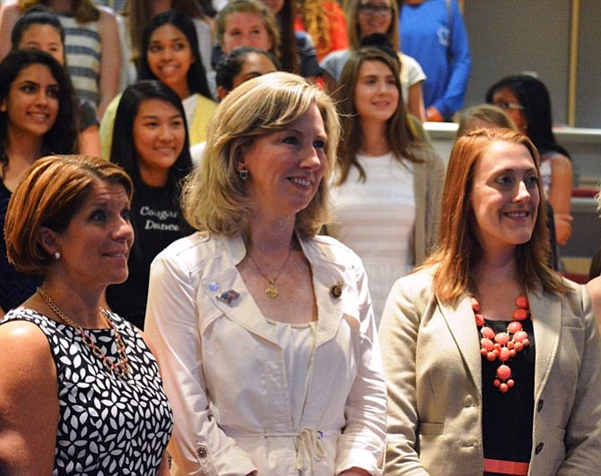 U.S. Rep. Barbara Comstock (R-10) poses with Jennifer Siciliano (left), vice president of government relations for Inova Health Systems, and McLean bioengineer Catherine Ross (right) during one of Comstock's Young Women Leadership programs in June that focused on local leaders in science and technology.