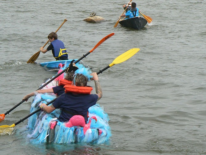 """The """"Anything That Floats"""" race on the Potomac River was a popular event during Seaport Day 2016."""