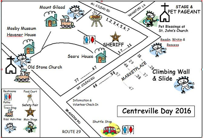 Map of this year's Centreville Day attractions.