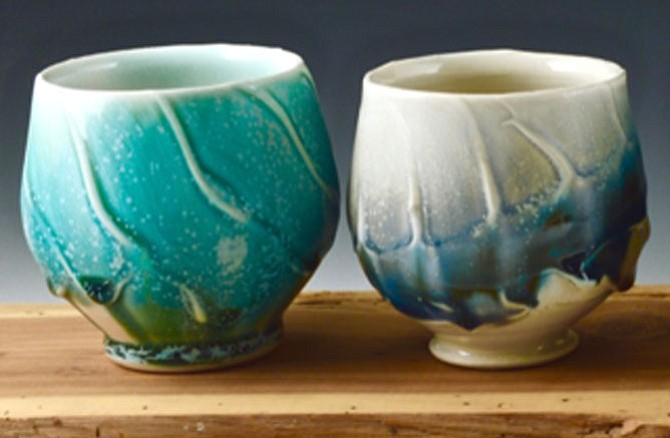 Sample cups created by Chris Lively, artisan potter, for the Arts Crawl.