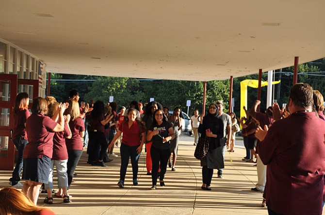 Students cheer at convocation on the first day of class.