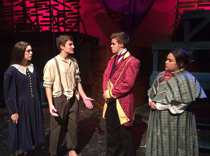 From left: Caroline Barnes, Evan Belsky, Jason Hadley (Molly's father) and Adrianna Castillo rehearse a scene.