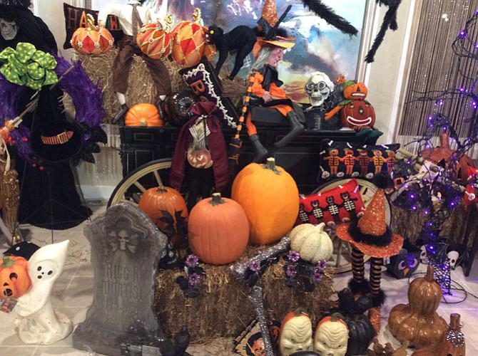 Life-sized props, throw pillows and animated skulls are among the Halloween accessories recommended by Linda Ridenour of Potomac Petals and Plants.