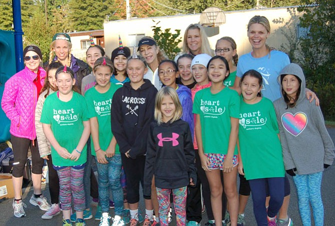 Kathrine Switzer with Girls on the Run of NOVA at Waples Mill Elementary.