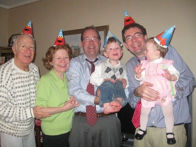 Frank and Kathy Fannon, left, celebrate granddaughter Maggie's first birthday with sons Frank and Ryan and grandchildren Ryan, Jr. and Maggie in 2010.