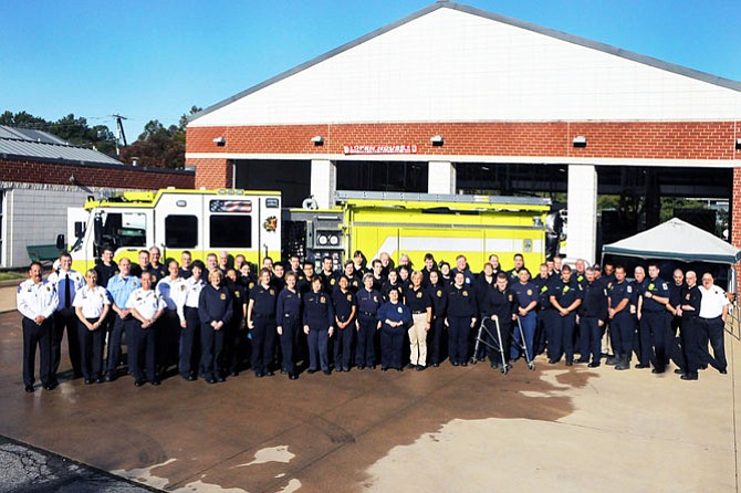 Volunteer and career staff at Station 414 with guests, including Rep. Gerry Connolly (D-11), Fairfax County Chairman Sharon Bulova, Springfield District Supervisor Pat Herrity and Fairfax County Fire and Rescue Department Chief Richard Bowers.