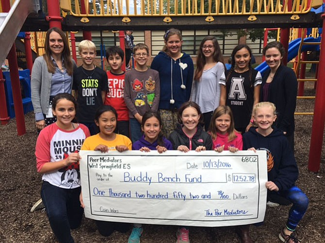 West Springfield Elementary students raised more than $1,200 for the Buddy Bench in the school's playground.