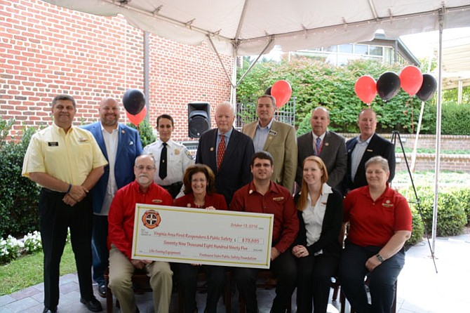 On Oct. 13, the Firehouse Subs Public Safety Foundation presents a check for $79,895 to Virginia first responders and public safety organizations including the Mount Vernon Ladies' Association, City of Manassas Park Fire and Rescue, Manassas City Police Department, Loudoun County Police Department, and U.S. Park Police.