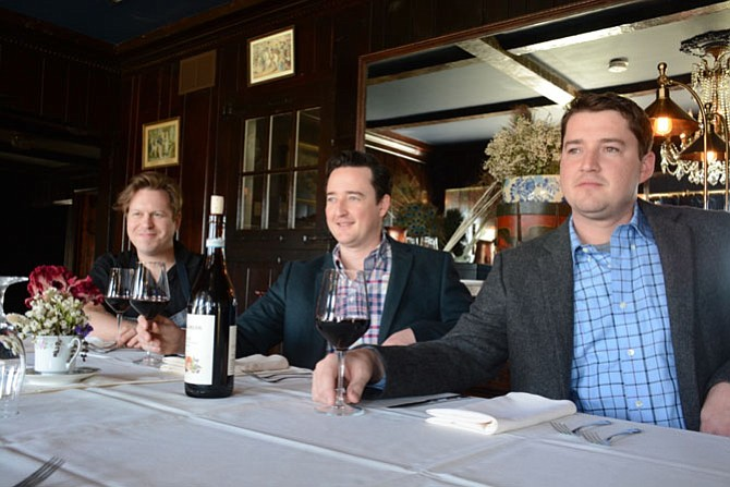 From left, Cedar Knoll chef, baker and partner Charlie Blevins, executive chef and managing partners Andrew Holden, and managing partner Chris Holden look out from the historic restaurant on to the Potomac River.