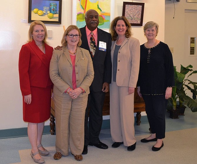 Mayor Allison Silberberg, second from right, joins board members and sponsors at the opening reception of the 2016 Young At Art show Oct. 19 at the Durant Arts Center. Pictured are (from left): Young At Art sponsor Joan Renner; Goodwin House Foundation executive directive Jeanne Jacobs; Senior Services of Alexandria board chair Lynnwood Campbell; Silberberg; and SSA executive director Mary Lee Anderson.
