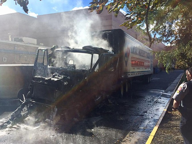 First responders were able to douse the flames fast enough on Oct. 22 to limit damage to the attached trailer, preventing the fire from spreading to the building.
