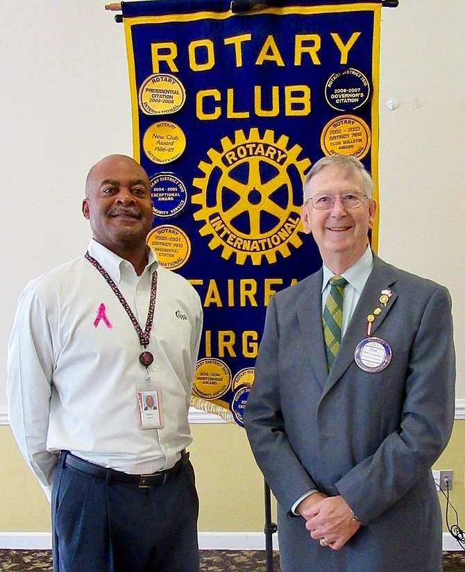 From left) are Fairfax Rotary board member Robert Sowell and club President Paul Gauthier.