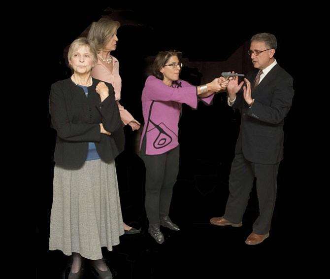 Leah Mazade (Edna), Nancy Blum (Agnes), Devorah Zack (Julia), and Lou Pangaro (Tobias)