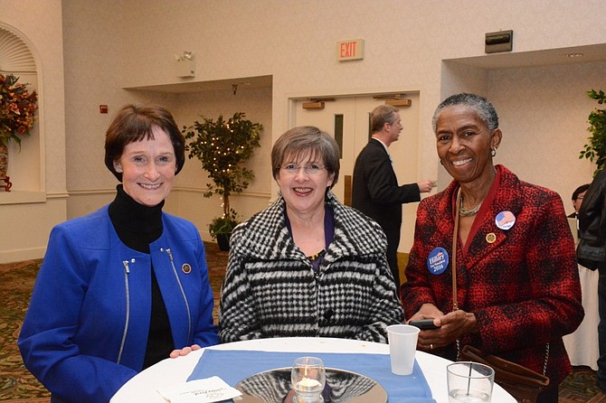 (From left) Fairfax County Board of Supervisors chairman Sharon Bulova, Supervisor Kathy Smith (D-Sully) and supervisor Cathy Hudgins (D-Hunter Mill) attend the Fairfax County Democratic Committee election night party at the Waterford at Fair Oaks.