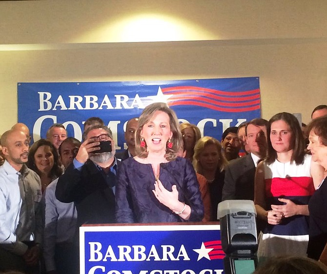 Barbara Comstock spoke to hundreds of supporters in Ashburn Tuesday night after her resounding victory over Democratic challenger LuAnn Bennett.