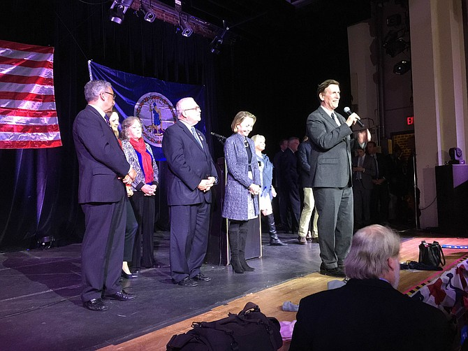 Newly re-elected U.S. Rep. Donald Beyer (D-8) addresses Democrats at an Election Night party held in the State Theatre in Falls Church.