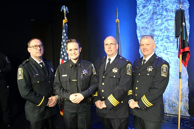 From left -- Lieutenant Thomas Taylor, Officer Rachel Rohr, Chief James Morris and Captain Daniel Janickey.
