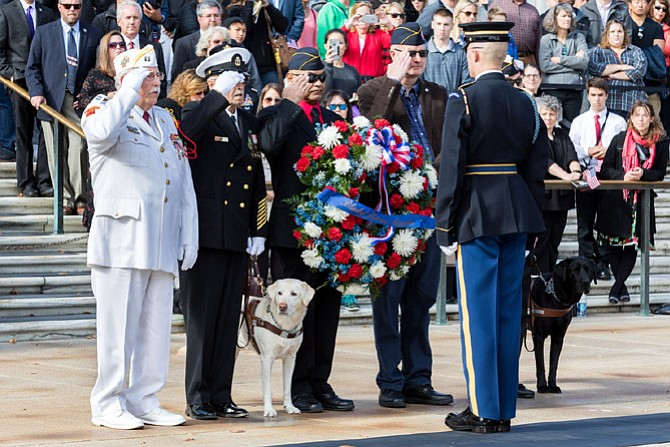 Representatives from the Alexandria based Blinded Veterans Association participate in a wreath laying ceremony at the Tomb of the Unknowns during the National Veterans Day Observance at Arlington National Cemetery |  (Photo credit: Mark Mogle)