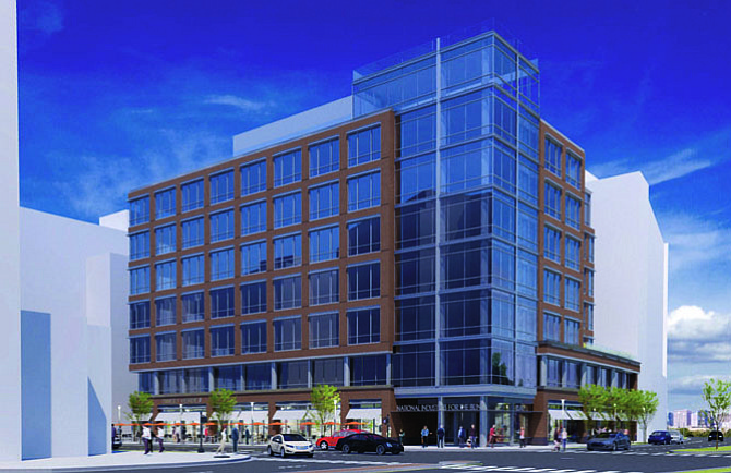 An artist's rendering shows the proposed Potomac Yard headquarters for the National Industries for the Blind. The seven-story building, will be approximately 100,000 square feet with retail space on the ground floor.