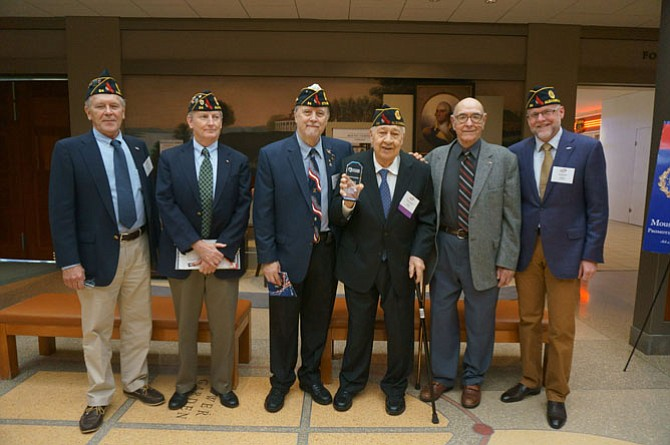 Distinguished Patriot recipient Charlie Euripides, third from right, with fellow members of American Legion Post 24. Pictured are Post 24 commander Doug Gurka, Henry Dorton, Jim Glassman, Charlie Euripides, 2015 Distinguished Patriot recipient Warden Foley and John Bordner.
