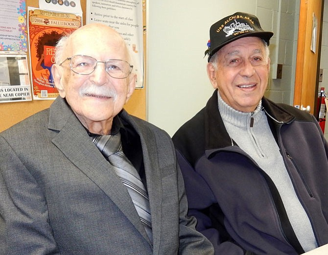 (From left) are WWII veterans Chester Myslicki (Air Force), 96, and Adrian Pelzner (Navy), 90.