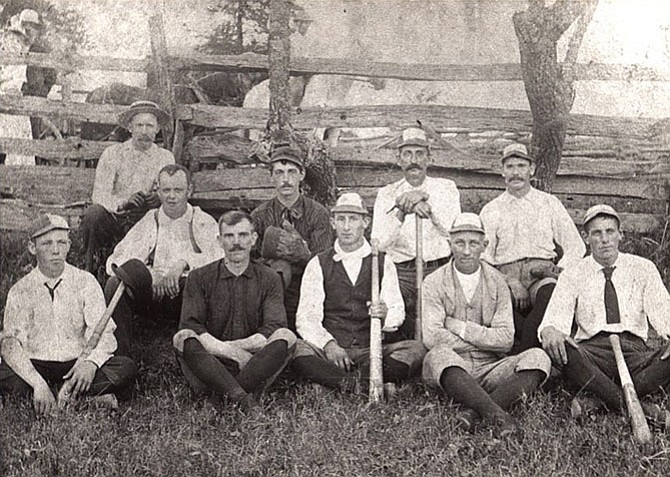 The 1890s Baseball Team: Front row -- Neal Johnson, Tom Dickey, Walter Follin, Page Sanders, and Sidney Follin Sr., Back row -- Albert Cornwell, Howard Cunningham, Joe Money, George Gunnell, and Harvey B. Cornwell.