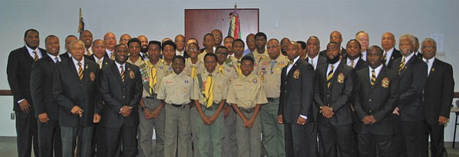 Here are the members of Troop 1906 at their Fall Court of Honor with troop co-sponsor, Xi Alpha Lambda Chapter of Alpha Phi Alpha Fraternity, Inc.