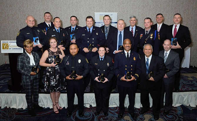 Outstanding personnel from Mount Vernon and Franconia Police Stations, local Fire Stations, and Fort Belvoir Public Safety were recognized at the annual Police & Fire Fighters Tribute hosted by Mount Vernon Lee Chamber of Commerce.