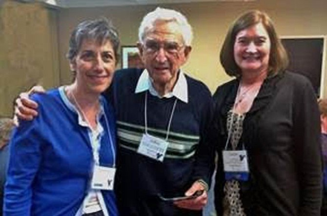 Pictured during a recent Shepherd's Center of America national conference held in Kansas City are (from left) Michelle Scott, Executive Director of the Shepherd's Center of Oakton-Vienna (SCOV); Julius Hankin recently of McLean (formerly long time resident of Falls Church)  recipient of the 2016 Donald Owen Smith National Volunteer Leadership Award and Sarah Cheney, Director of Shepherd's Center of America.