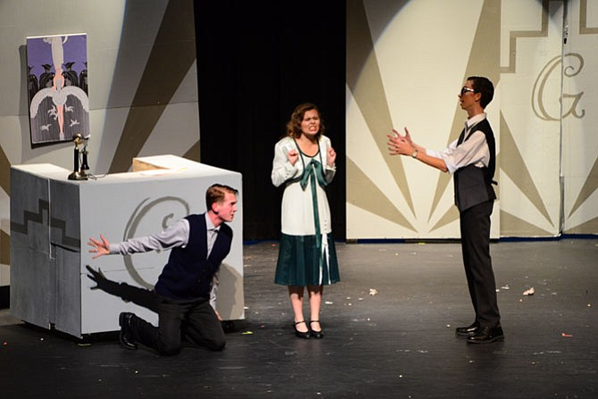 "From left:  Hunter Carrico, Anna Goodin and Rob Warric in Oakton High production of ""Once in a Lifetime."""