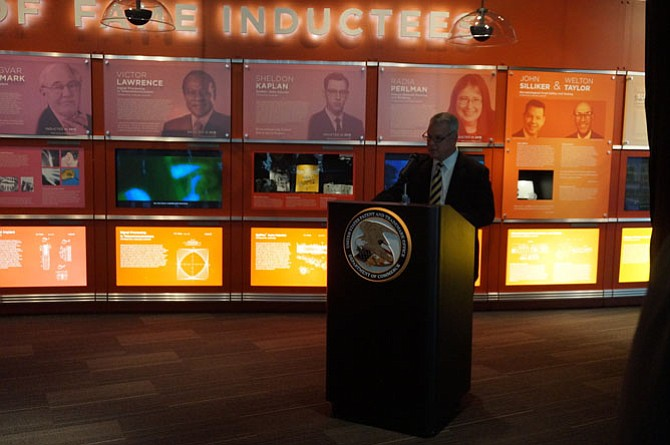 Frederick Steckler, chief administrative officer for the U.S. Patent and Trademark Office, makes remarks prior to unveiling the Visionary Veterans exhibit Nov. 10 at the National Inventors Hall of Fame.
