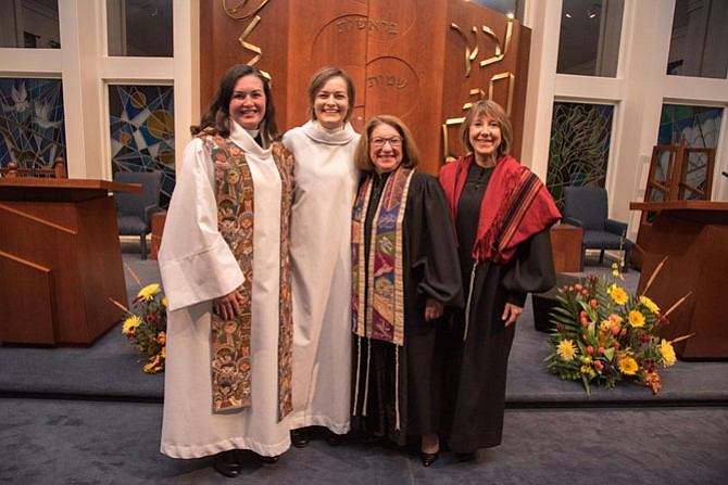 From left, Rev. Meredith Keseley and Seminarian Heidi Eickstadt of Lutheran Church of the Abiding Presence in Burke, and Rabbi Amy R. Perlin, D.D. and Rabbi Laura Rappaport, D.D. of Temple B'Nai Shalom in Fairfax Station, at the 30th consecutive joint Thanksgiving Eve service, held Nov. 23 at the Jewish congregation's synagogue.