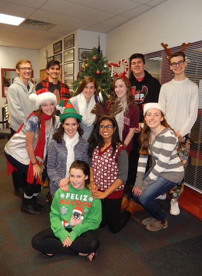 """The directors of Westfield High's """"Ho Ho Holiday Show"""" are (back row, from left) Marty Bernier, Ian Balderston, Drew Tobin and Charlie Parsons; (second row, from left) Kaley Haller, Aubrey Cervarich and Sara Bresnahan; (third row, from left) Ruby Tippl, Maya Hossain and Allie Bush; and (in front) stage manager Lauryn Bailey. (Not pictured: Miles Josephh and Nate Riester)."""