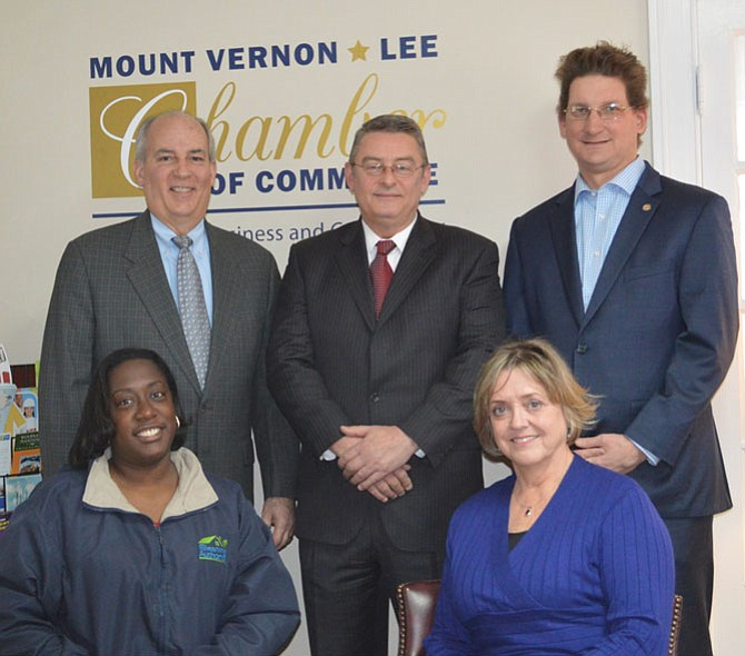 New Chamber officers are, seated left, Sonja Caison, vice president and Jane Gandee, chairman; standing left, Chris Reddick, treasurer; Paul Gaymon, secretary, and Scott Stroh III, president.