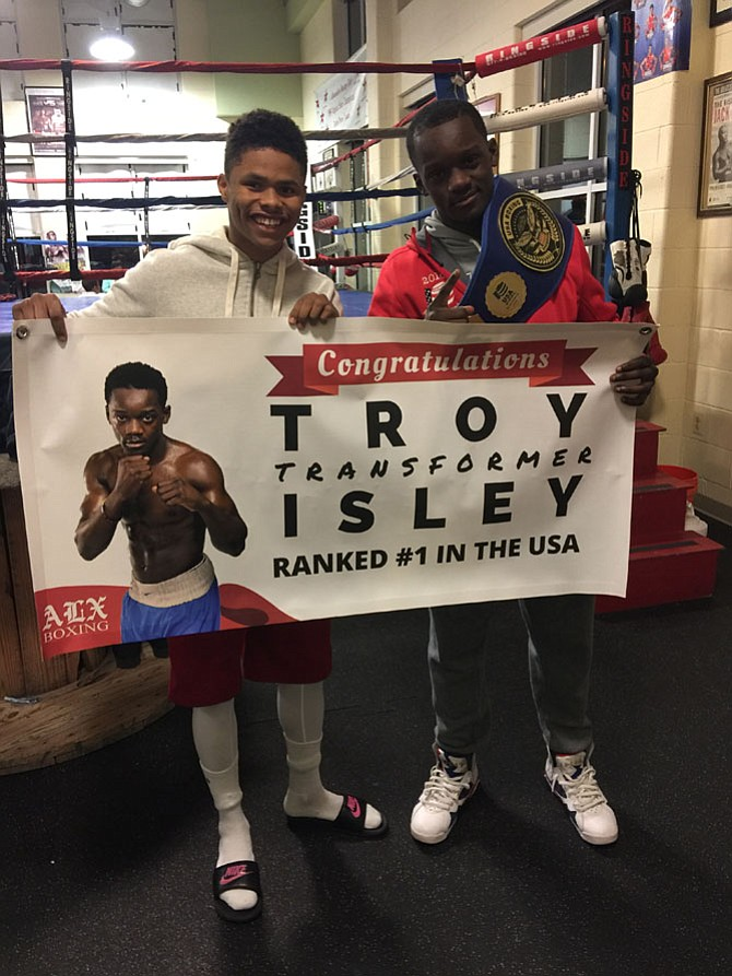 Troy Isley with teammate and Olympic Silver Medalist Shakur Stevenson.