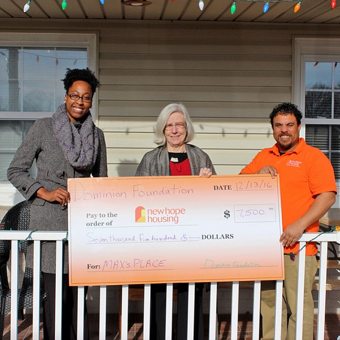 From left are Akira Brown, Alexandria Housing First case manager; Pamela Michell, executive director of New Hope Housing; and Lance Flowers, outreach counselor for Max's Place.
