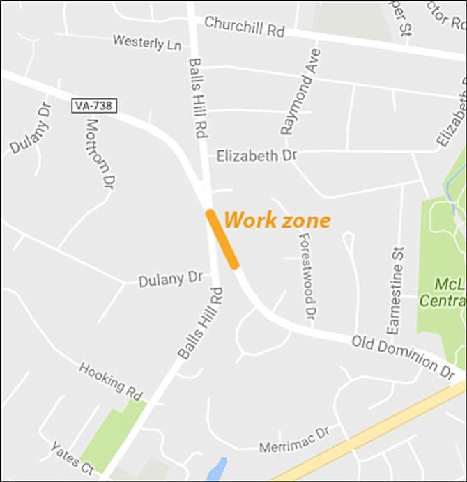 Work zone map.
