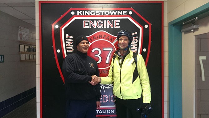Right, Supervisor Dan Storck (D-Mount Vernon) meets with Captain Derrick Penny of Fairfax County Fire & Rescue Station 37 Kingstowne during the first-ever Tour de Mount Vernon bike ride.