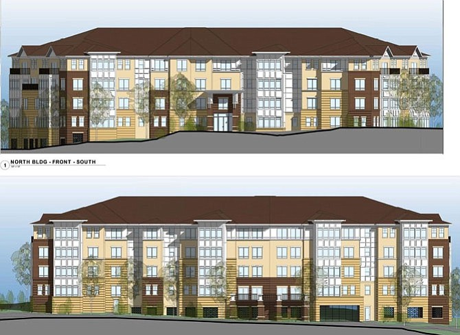 Artist's rendition of The Enclave north condo building (top, front view; bottom, rear view).