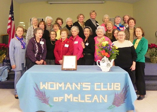 Partial listing of McLean Woman's Club members who contributed their efforts to the 2016 Holiday Homes Tour and MarketPlace. From left -- first row: Club President Joan Morton, Barbara Hartsell, Linda Regan, Daisy Logan, Kay Burnell, Rosalie Donnelly, Peggy Puritano, Helen Bowers, Anne Kanter, Jackie Armstrong. Second row: Carol Danzeisen, Millie Thompson, Carol Scott, Laura Sheridan. Third row: Bea Somovigo, Grace Harkins, Dawn Schulz, Mary Flanagan, Cecilia Glembocki, Emma Lea Moorman, Sally Margolis, Jeanette Calland, Rebecca Horahan.