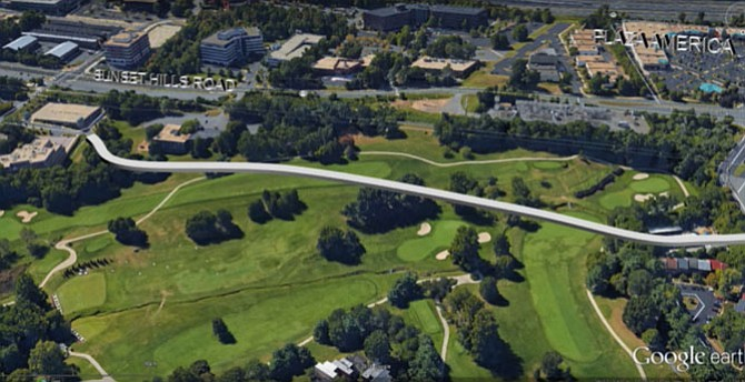 On Dec. 15, Reston Association Land Use Attorney John McBride presented this rendering of the proposed location of a road that would connect American Dream Way and Isaac Newton Square, which would adversely impact the Hidden Creek golf course.