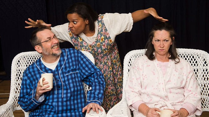 <cl>From left -- Vanya played by Andrew JM Regiec, Cassandra played by Alexa Yarboro, and Sonia played by Lee Slivka in Reston Community Players' production of  'Vanya and Sonia and Masha and Spike.'