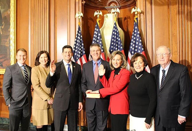 U.S. Rep Barbara Comstock (R-10) being sworn-in to the 115th Congress.